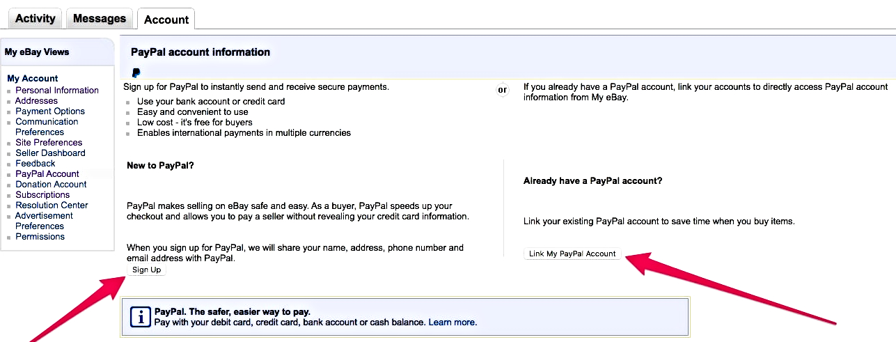 how to add paypal account